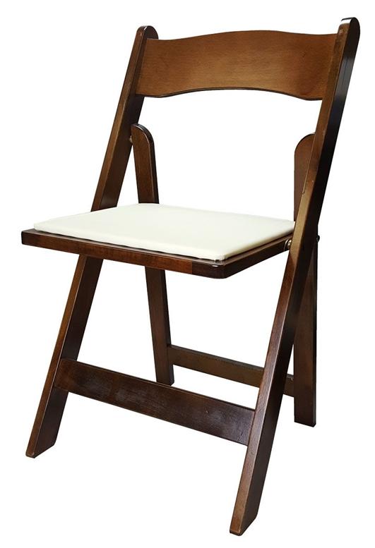 Folding Padded Chairs – Fruitwood (Dark Wood)